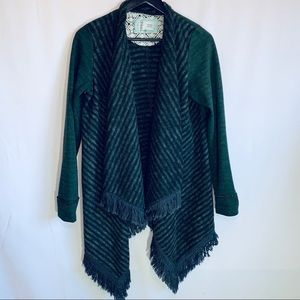 Anthropologie green/grey Elise Blanket Sweater